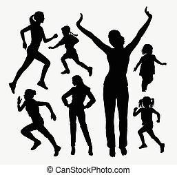 silhouettes, girl, activité, gosse