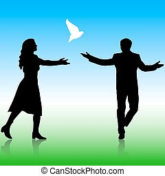 Silhouettes girl and guy released doves into the sky. Vector ill