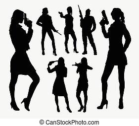 silhouettes, girl, fusil