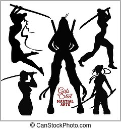 silhouettes - Girls with katana - mma woman fighter. Vector...