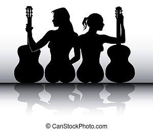 silhouettes, gitaar, meiden