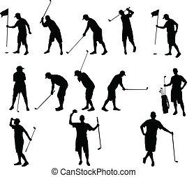 silhouettes, golf