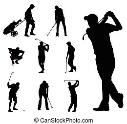 silhouettes, golfspeler, verzameling