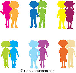 silhouettes, gosses, couple, dessin animé