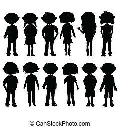 silhouettes, gosses, dessin animé