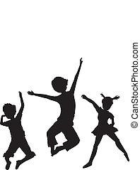 silhouettes, gosses, sauter