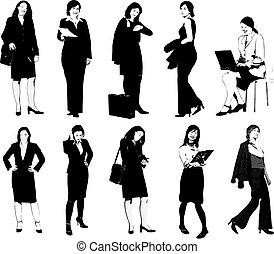 silhouettes., grafici, vettore, donne affari, illustrazione