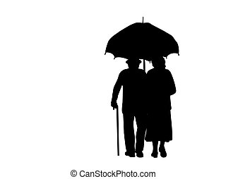 silhouettes, grands-parents, aller, parapluie, sous