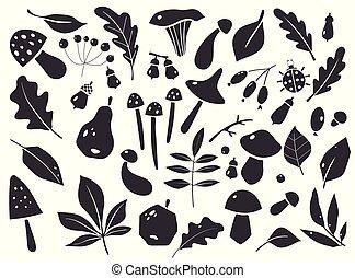 silhouettes, graphique, éléments, designs., berries., ensemble, feuilles, automne