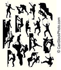 silhouettes, grimpeur, rocher
