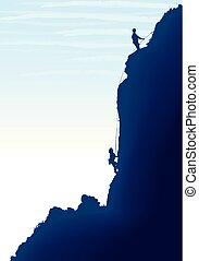 silhouettes., grimpeurs, isolé, mountain., deux