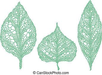 silhouettes, groene, set, vector, blad