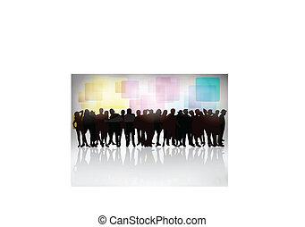 silhouettes, groep, mensen