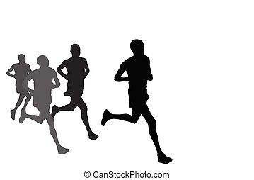 silhouettes, groupe, coureurs marathon