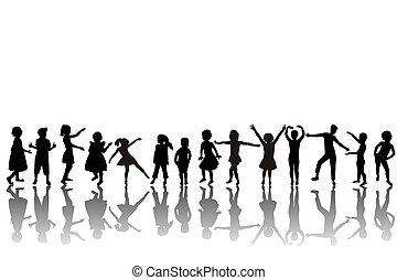 silhouettes, groupe, enfants