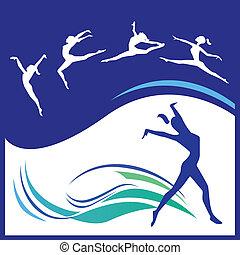 silhouettes, gymnastes
