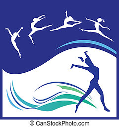 Silhouettes gymnasts - Vector illustration of silhouettes...