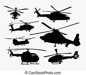silhouettes, hélicoptère