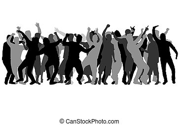 silhouettes., hím, tánc