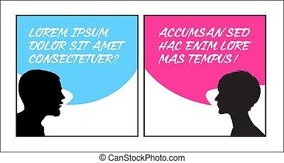 silhouettes, högtalare, anförande, bubblar