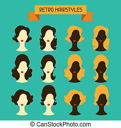 silhouettes., hairstyles., retro, női