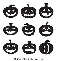 silhouettes, halloween, citrouille