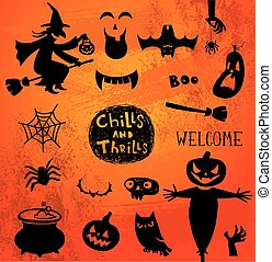 silhouettes, halloween