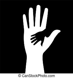 silhouettes hand - silhouettes of adult and children's hands...
