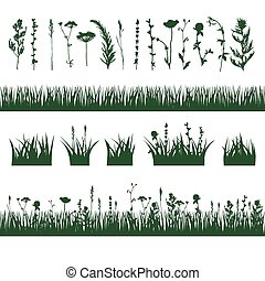 silhouettes, herbe, pré