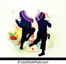 silhouettes, heureux, enfants, dehors