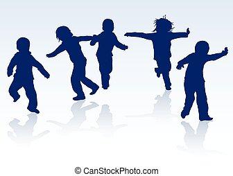 silhouettes, heureux, enfants, ensemble, danse