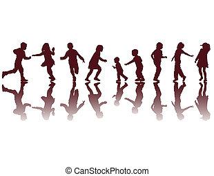 silhouettes, heureux, enfants