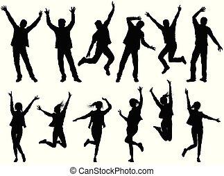 silhouettes, heureux, isolé, illustration, gens
