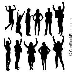 silhouettes, heureux, professionnels