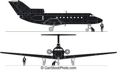silhouettes, hi-detailed, straalvliegtuig