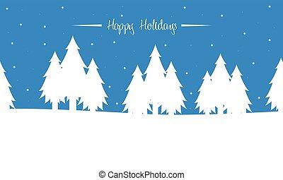 silhouettes, hiver arbre, paysage, noël
