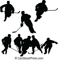 silhouettes, hockey