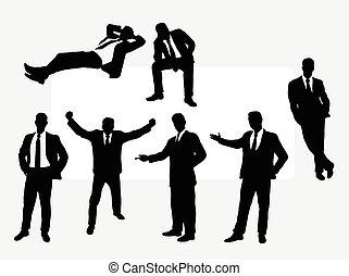 silhouettes, homme affaires, utile