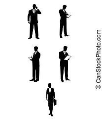 silhouettes, hommes affaires, accessoires
