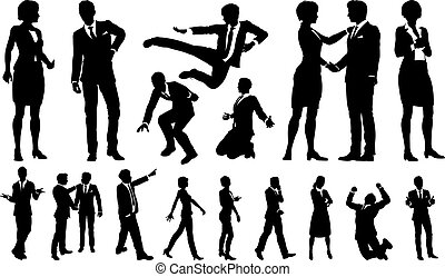 silhouettes, hommes, femmes affaires
