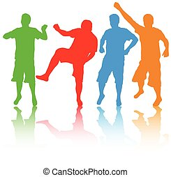 silhouettes, hommes, groupe