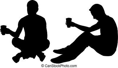 silhouettes, hommes, mendiant