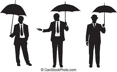 silhouettes, hommes, parapluie