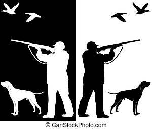hunter with a dog - silhouettes hunter with a dog on a white...