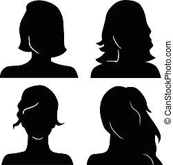 silhouettes, huvuden, kvinnor