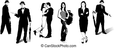 silhouettes., illustration, vecteur, noir, blanc, concepteurs, femmes affaires