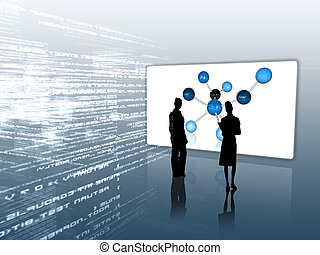 Silhouettes in front of molecular screen