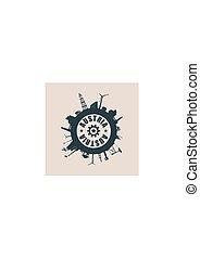 silhouettes., indústria, relativo, áustria, texto, círculo