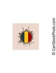 silhouettes., indústria, relativo, bandeira, bélgica, círculo