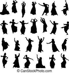 silhouettes, indien, danseurs